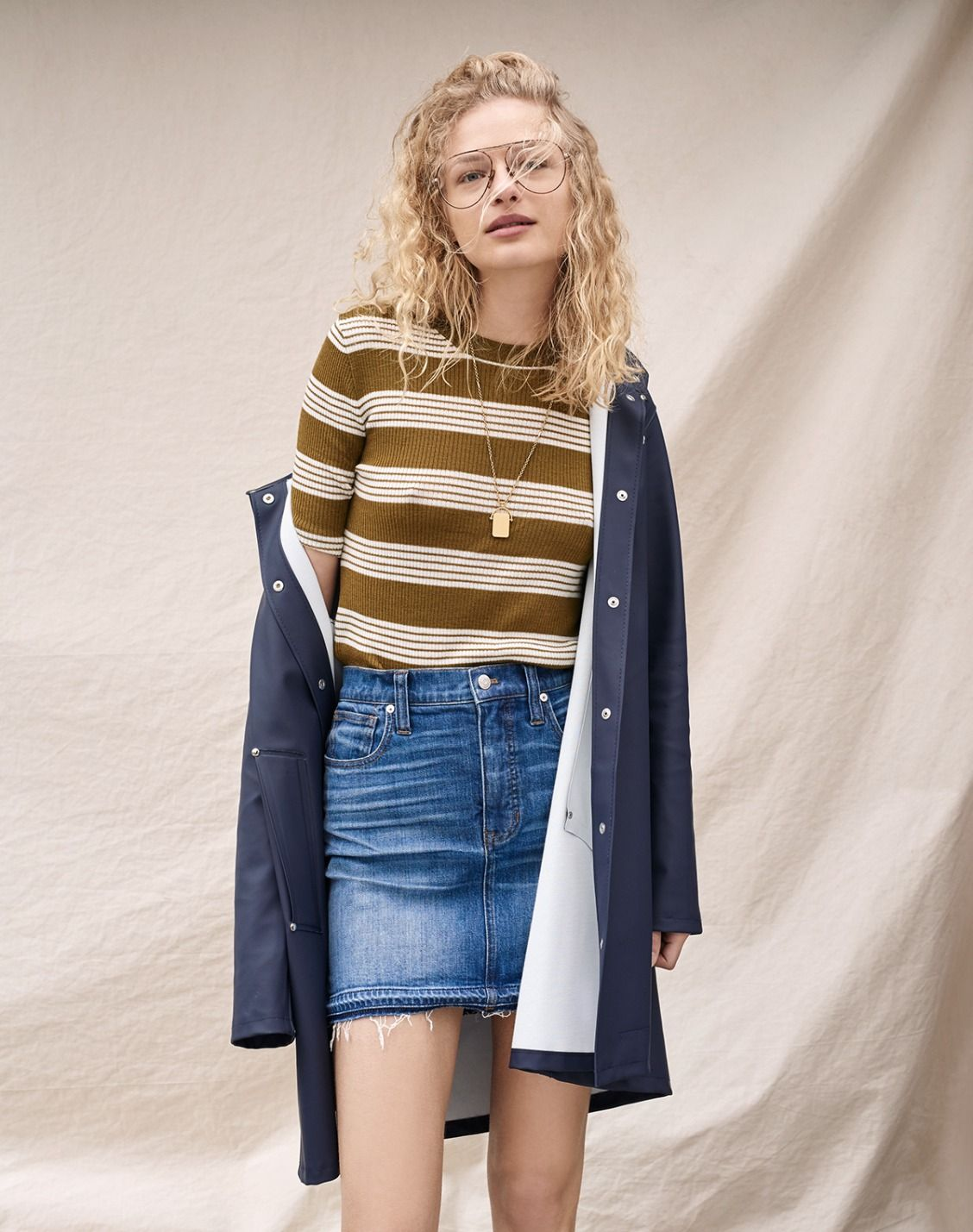 madewell ribbed sweater top worn with the step-hem jean skirt ...