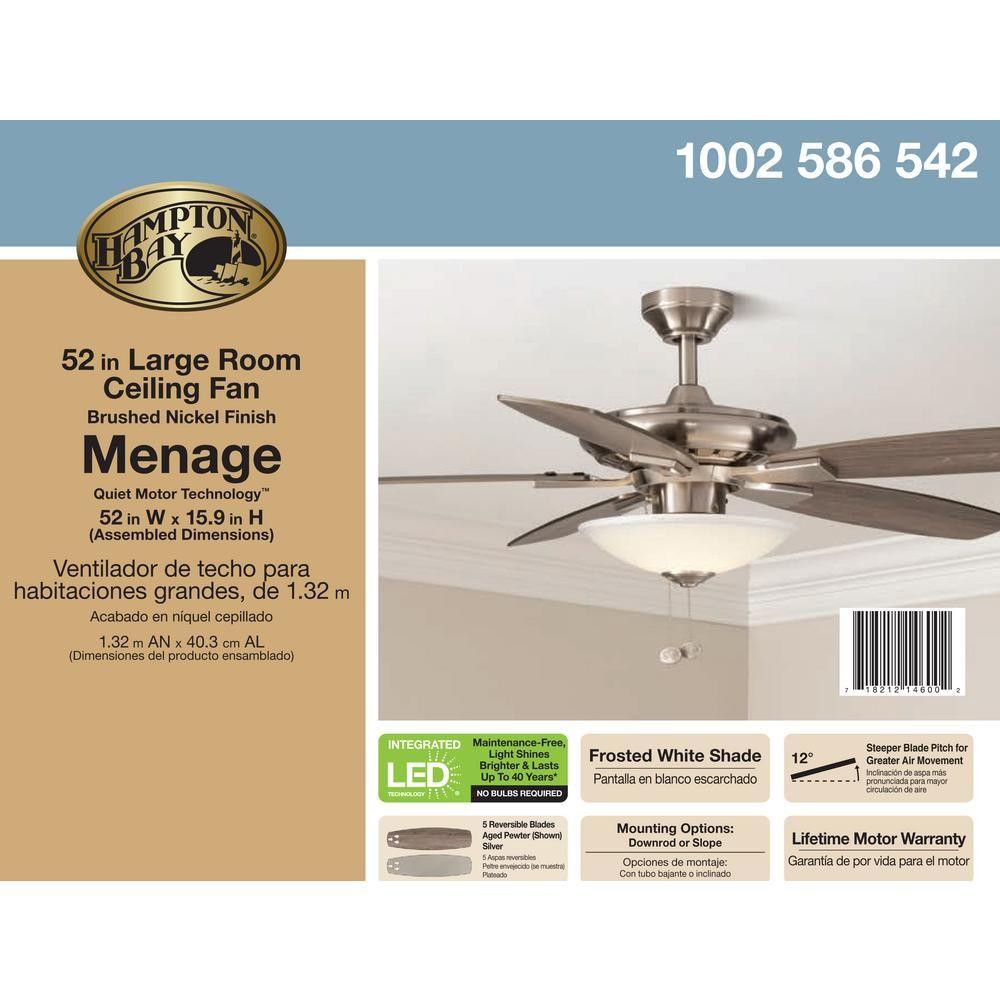 "Hampton B.Menage 52/"" Integrated LED Indoor LowProfile Brushed Nickel Ceiling Fan"