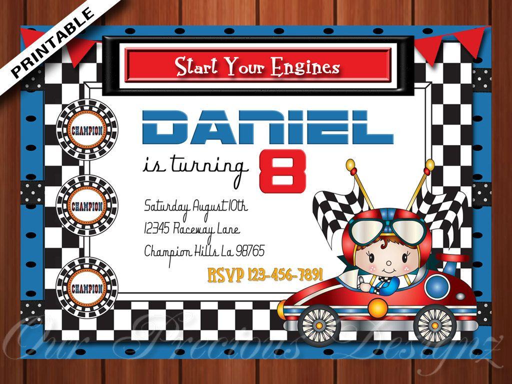 Race car Birthday Invitation Nascar racecar : Printable Personalized ...