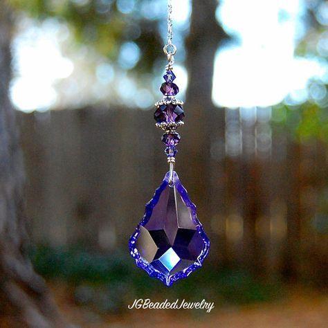 Light Pull Rearview Car Charm Ceiling Fan Pull Window Decoration Purple Butterfly Teardrop Prism Crystal Suncatcher