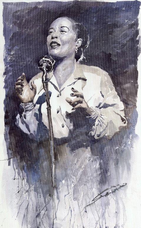 "Saatchi Online Artist: Yuriy Shevchuk; Watercolor, 2010, Painting ""Jazz Billie Holiday Lady Sings Tha Blues """