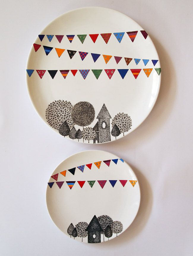 Items similar to Village Wall Plate - Small size on Etsy