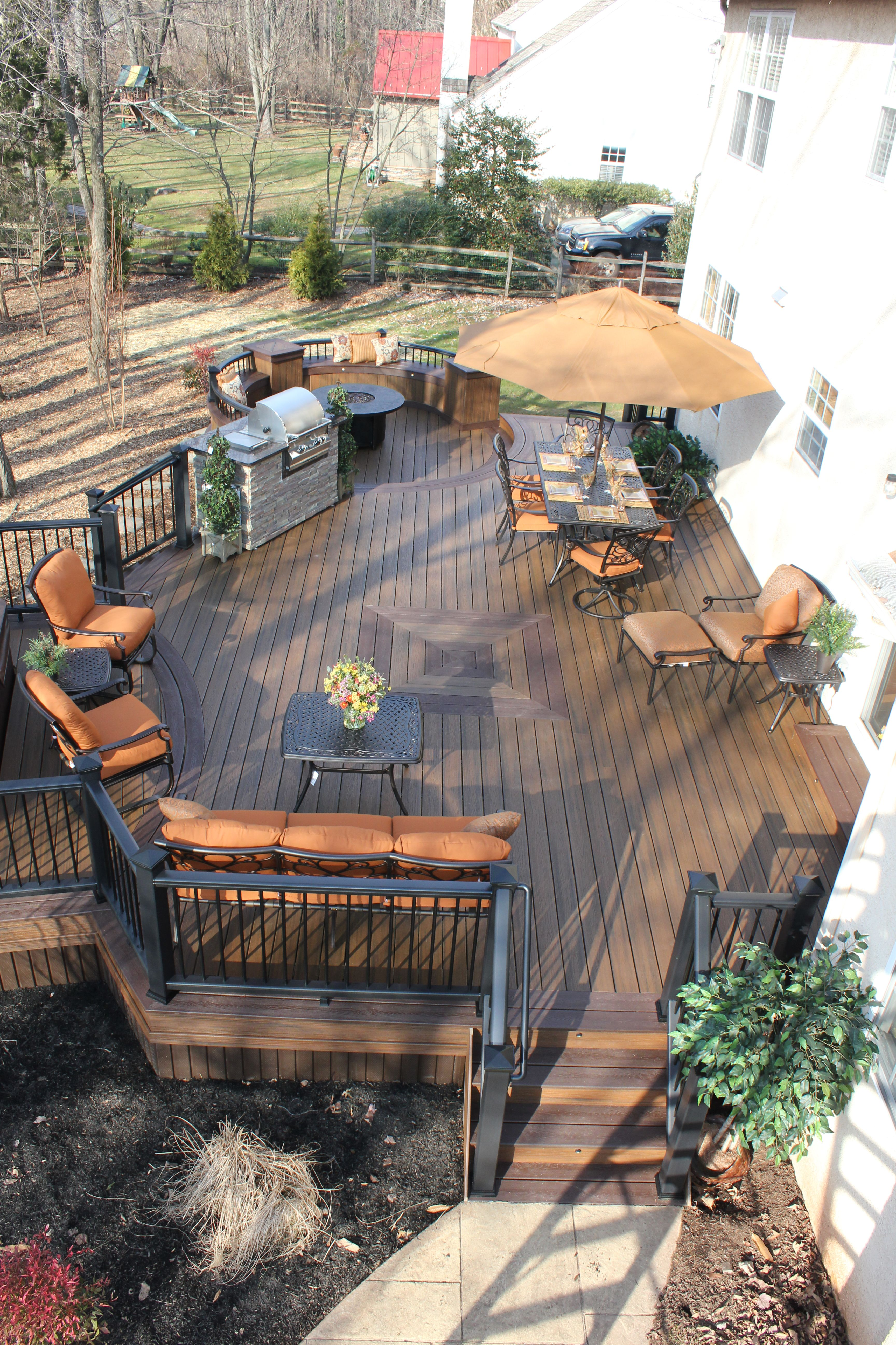 Trex transcend tropics deck with hot tub area and a for Who makes tropics decking
