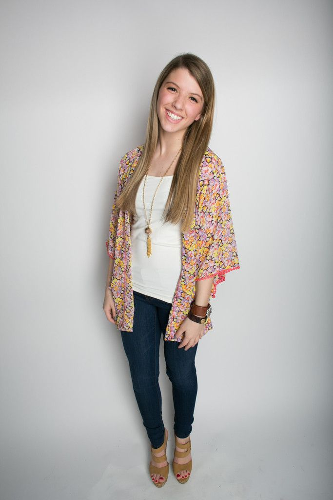 Sheer Floral Print Cardigan with Pompom Trim – Deep South Pout