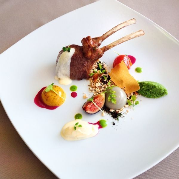 Lamb rack with parmesan textures parmesan foam icecream soil and paper sous vide figs and m for Creation cuisine