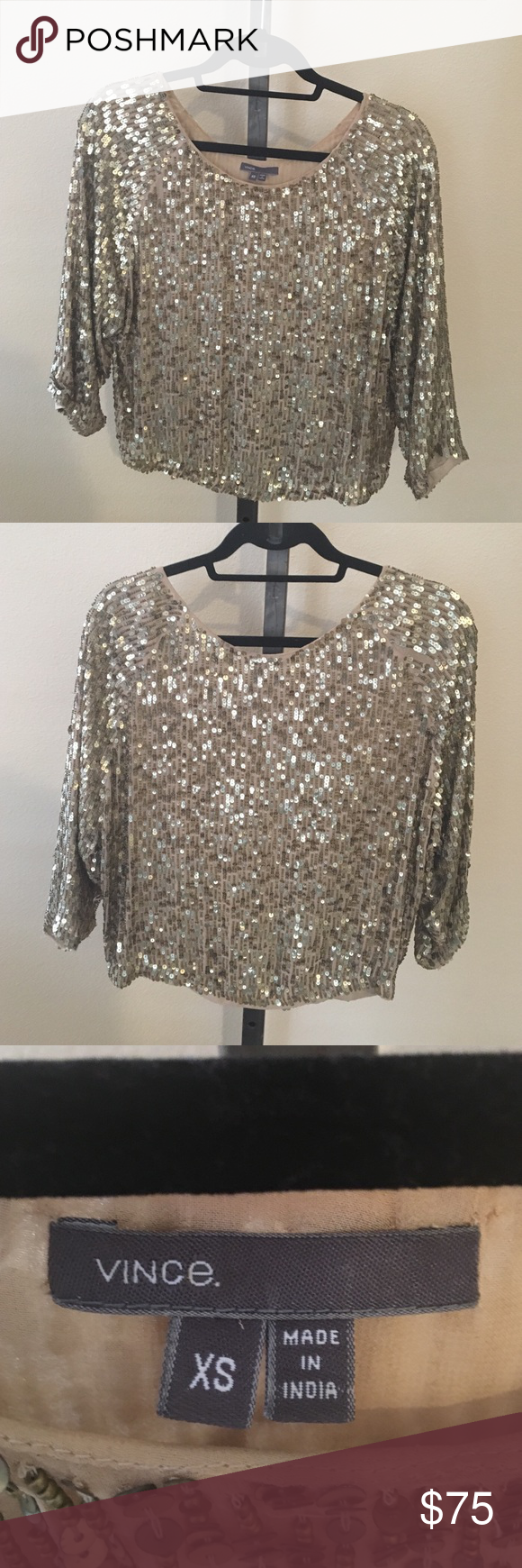 7190b73a9110d Vince Gold Sequin top Beautiful dolman sleeved sequin top. Lined in good  condition. There are a couple of spots there a missing sequins (pictured)  Fits a ...