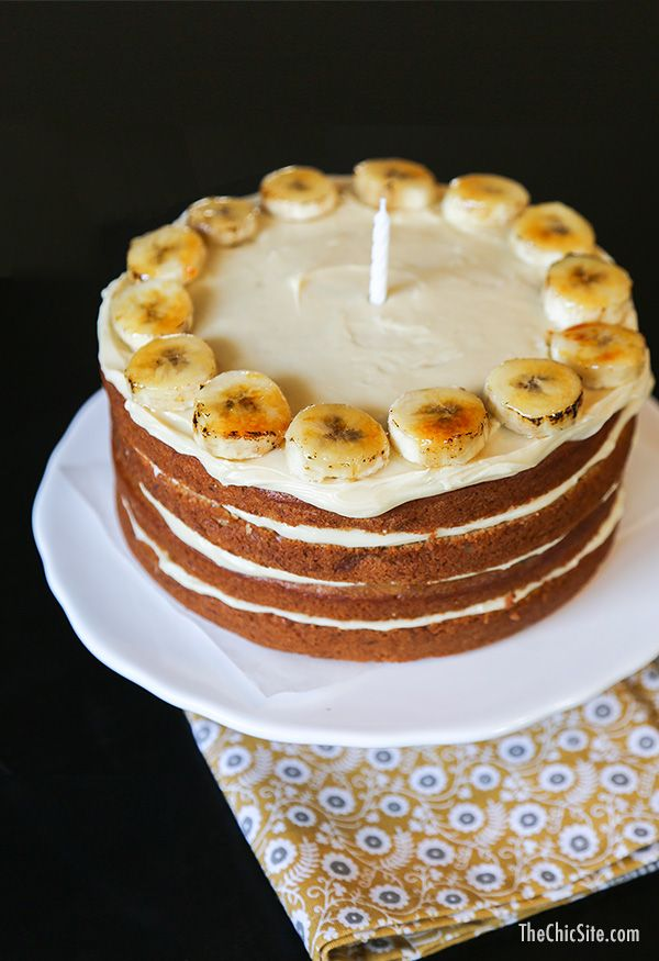Banana Cake with Cream Cheese Frosting unique birthday cake