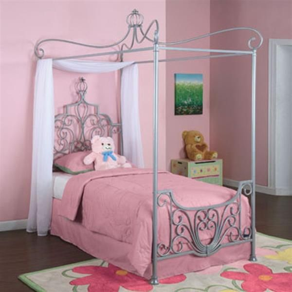 Silver Canopy Bed Frame Part - 20: Elegant Sparkle Silver Metal Princess Rebecca Canopy Twin Bed