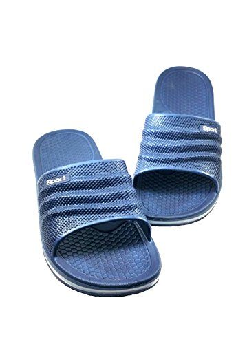 d311afc59ab perfect Men s Rubber Sandal Slipper Perfact Cushion Shower Beach Shoe Slip  on Light As a Feather - Navy