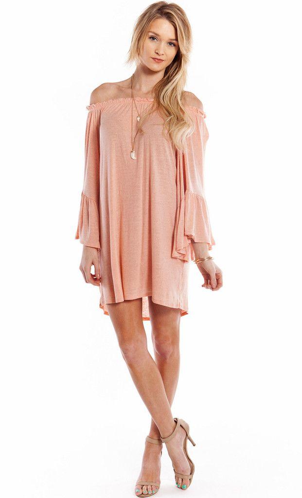 af90d69afbdf RUFFLED OFF THE SHOULDER TUNIC DRESS - PINK WWW.SHOPPUBLIK.COM ...