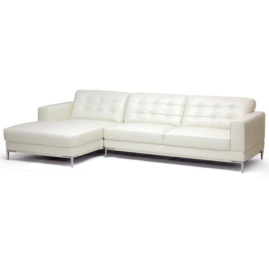 Flash Sale Baxton Studio Babbitt Ivory Leather Modern Sectional Sofa 1365 Sectiona Modern Leather Sectional Modern Sofa Sectional Sectional Sofa With Recliner