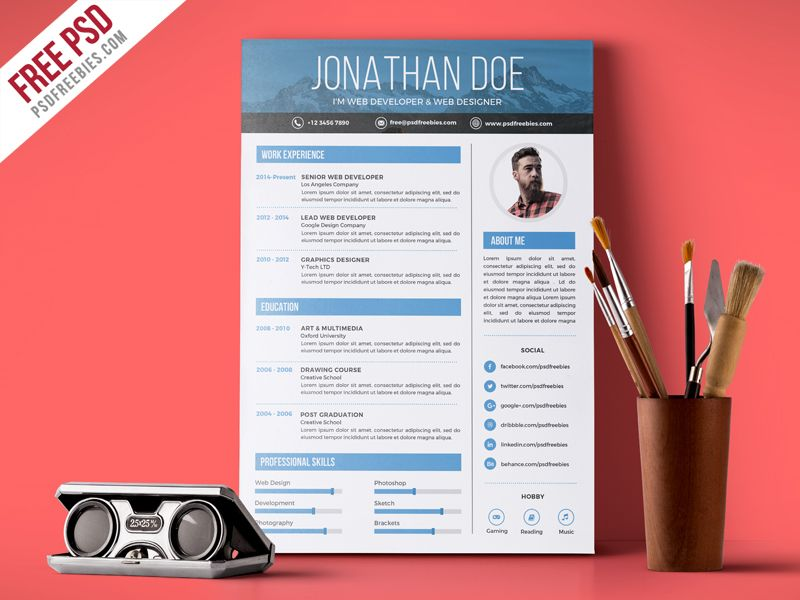 Free PSD  Creative Graphic Designer Resume PSD Template Graphic - best graphic design resumes