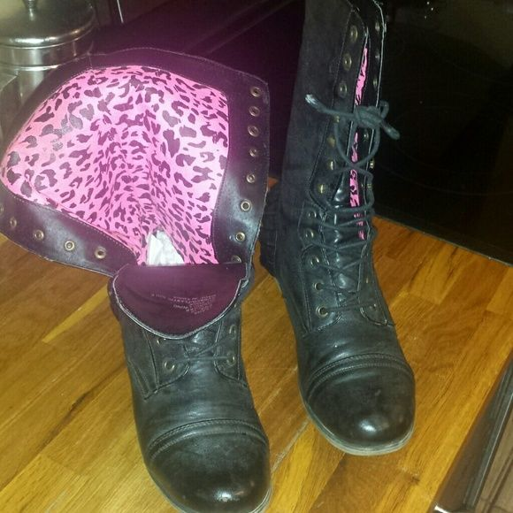 Betseyville  RUFFLE COMBAT BOot PRE LOVED .BLACK COMBAT BOOTS .ONLY WORN WHEN I'M RIDING  MY HARLEY. .GOT TO KEEP IT FEMININE. .LOL..YOU WILL HAVE TO BUY NEW SHOESTRING ...super cute  PINK leopard inside   ..RUGGED MEETS SEXY the  rubber on left heel .needs a little crazy glue  or not ..but I am just pointing that out to you. Hardly noticeable  but I try to describe my items completely. .THANK YOU FOR SHOPPING MY CLOSET Betsey Johnson Shoes Combat & Moto Boots
