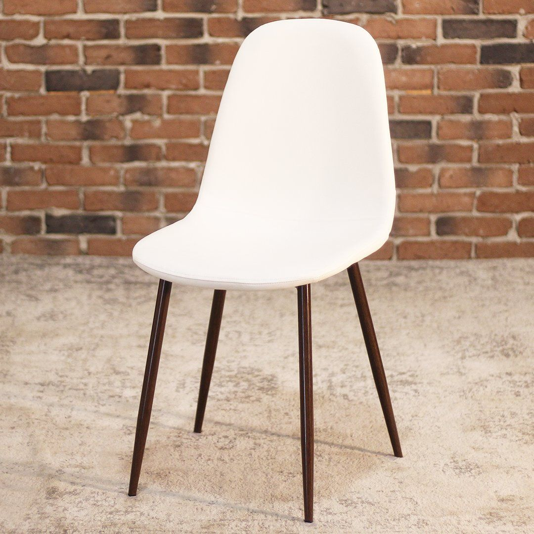 MILANEames Style White Leather Dining Chair with Faux