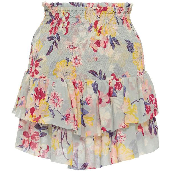 Piamita Sabine Ruffled Miniskirt (1.460 BRL) ❤ liked on Polyvore featuring skirts, mini skirts, bottoms, floral, mini skirt, ruffled skirt, high waisted mini skirt, high-waisted skirts and ruffle mini skirt