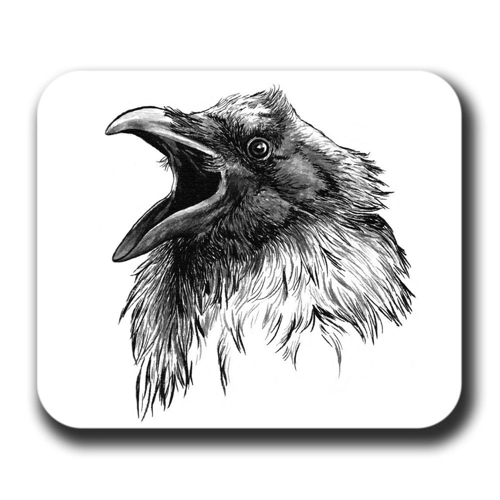 Crow drawings raven face cawing bird crow art mouse pad for Ravens face tattoos