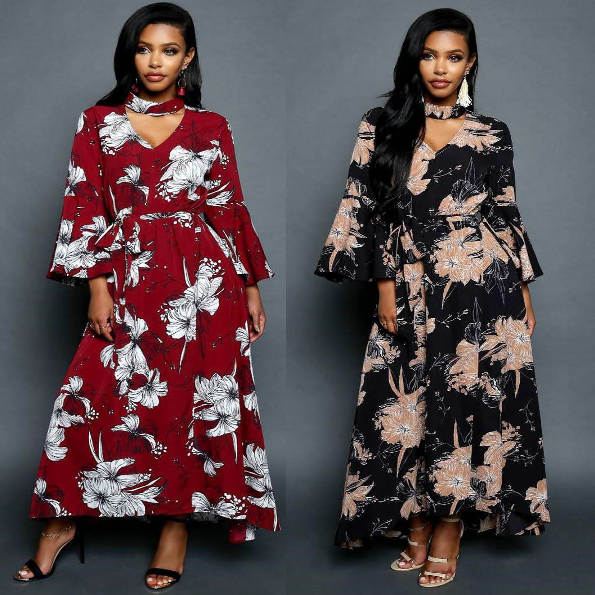 Awesome amazing women floral boho long maxi dress evening cocktail