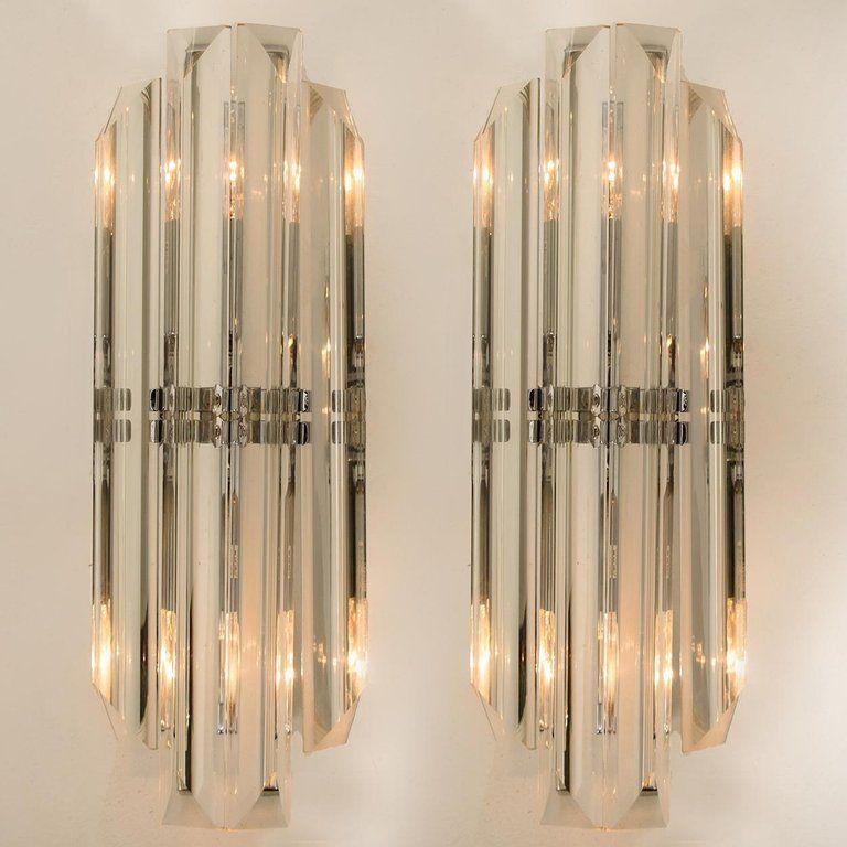 Art Deco Cut Glass Prism Lamp Pair Clear Brass