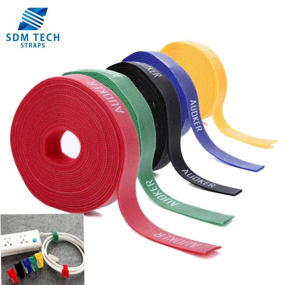 Green White Red VELCRO® Brand Cable Ties One Wrap Double Sided Straps Black