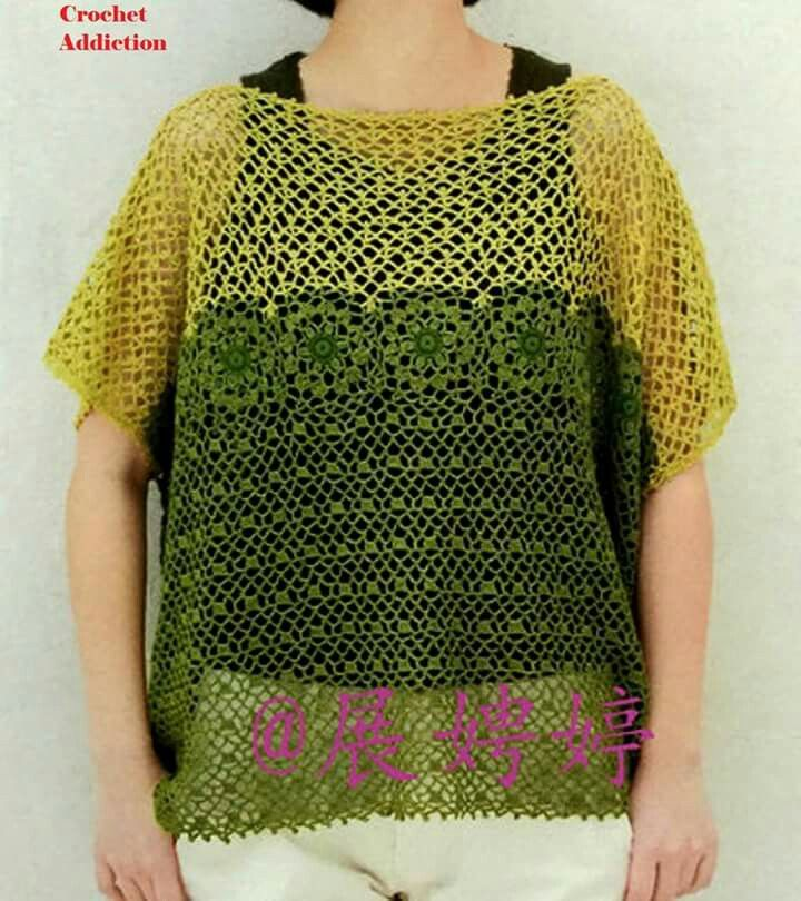 Pin By Pauline Lim On Crochet Poncho And Blouse Pattern Pinterest