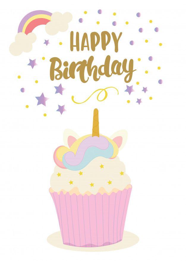 Descarga gratis vectores de Tarjeta del feliz cumpleaños con lindo unicornio scrapbook Feliz