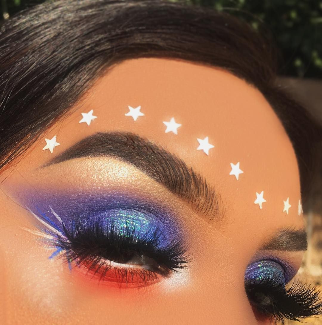 4th of July makeup red white and he fireworks stars Jaclyn