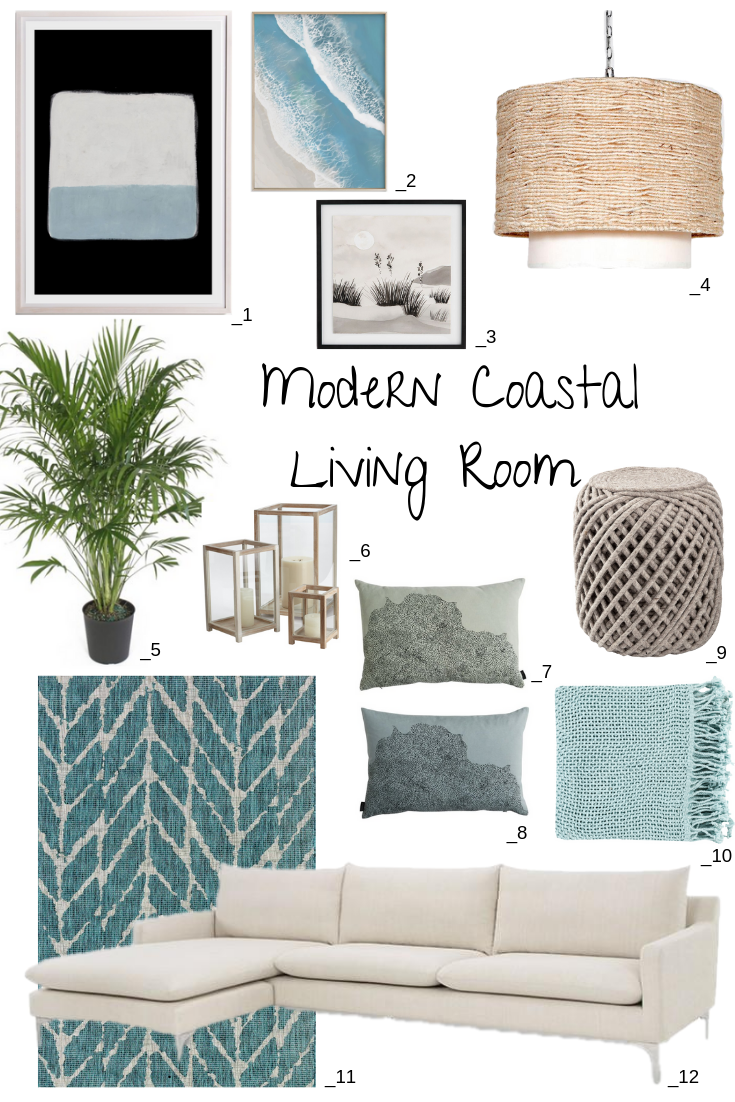 12 Modern Coastal Living Room Ideas. Inspiration for a modern coastal living room in soft beachy hues of blue, gray and sand for a modern take on beach cottage decor. #homedecor #homedecorideas #coastal #coastaldecor #beachhousedecor #coastallivingrooms  #summerstyle #interiorstyling #blueandwhite #coastallivingrooms