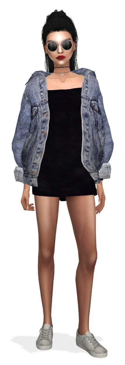 sims 4 kendall jenner cc outfit clothes marigold jean jacket dress slyd shoes #jeanjacketoutfits