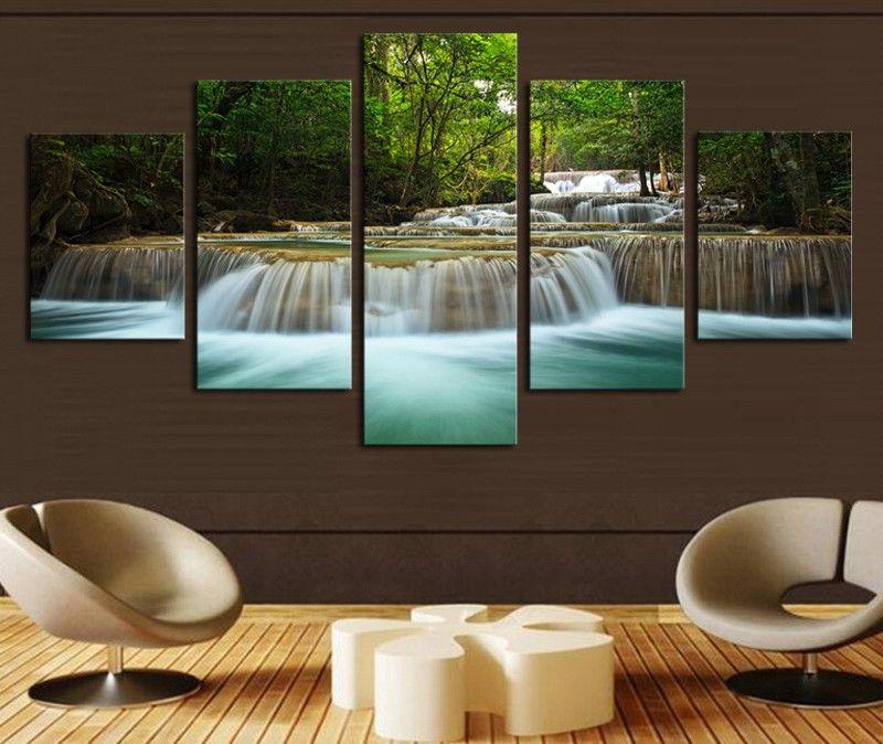 5 Piece Waterfall Canvas Wall Art Picture Home Decoration For Living Room Canvas Print Large Canvas Art 30x40 30x60 30x80cm X5pcs Canvasprintworld Com Canva Living Room Canvas Prints Living Room