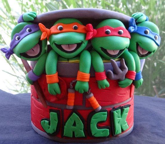 Teenage Mutant Ninja Turtle Cake Topper di BellaCakesCT su Etsy