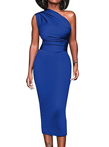 6fc7a15ed580e Meannic Women One Shoulder Bodycon Midi Party Dress Stretchy and Soft  Fabric.Hand wash separately in cold water and Hang dry Feature:One Shoulder,Sleeveless  ...