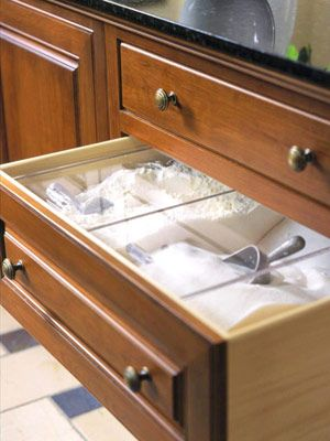 Flour Sugar Stores Covered And Accessible In A Drawer Home