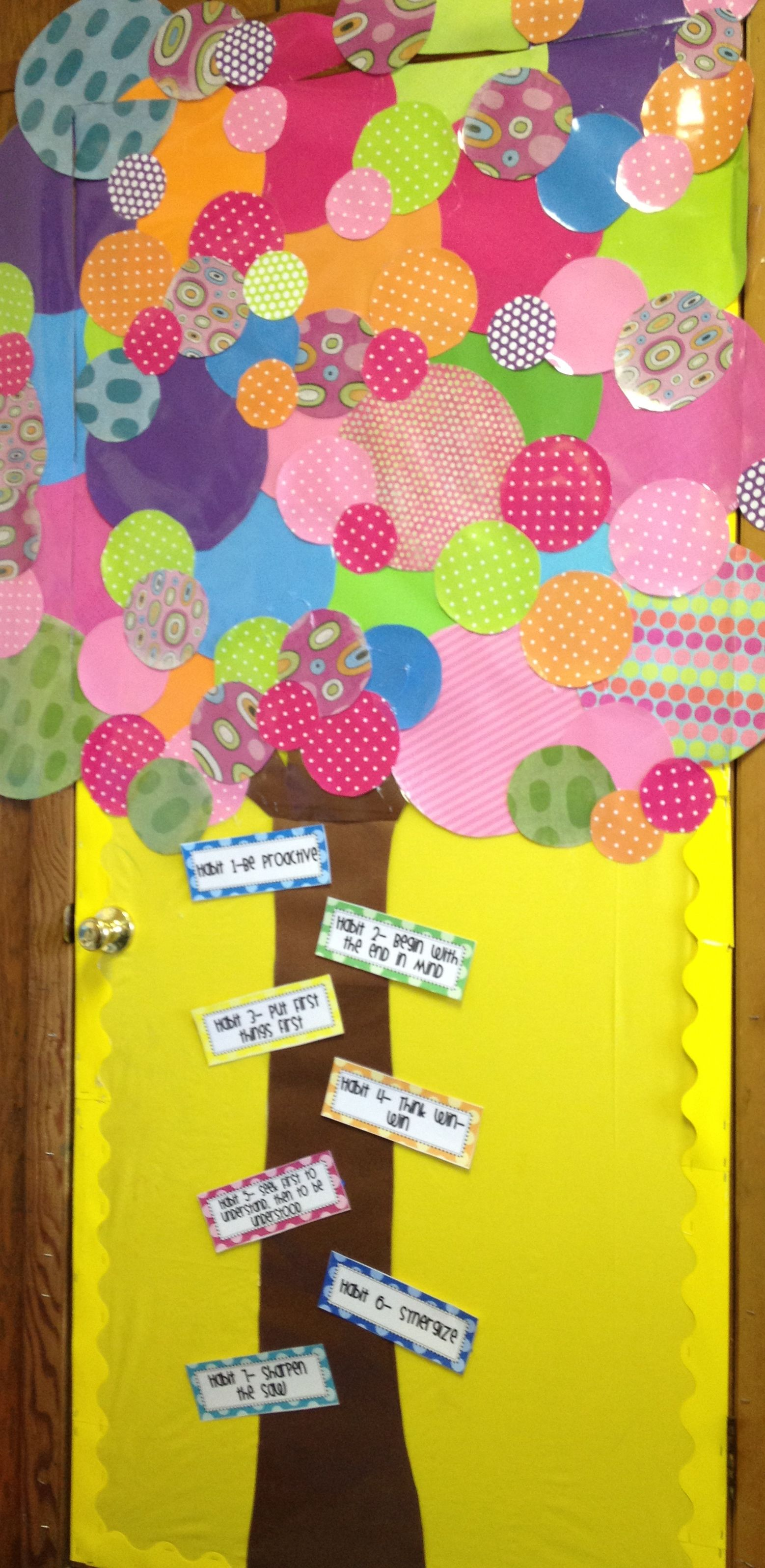 The leader in me bulletin board school and board for 7 habits tree mural