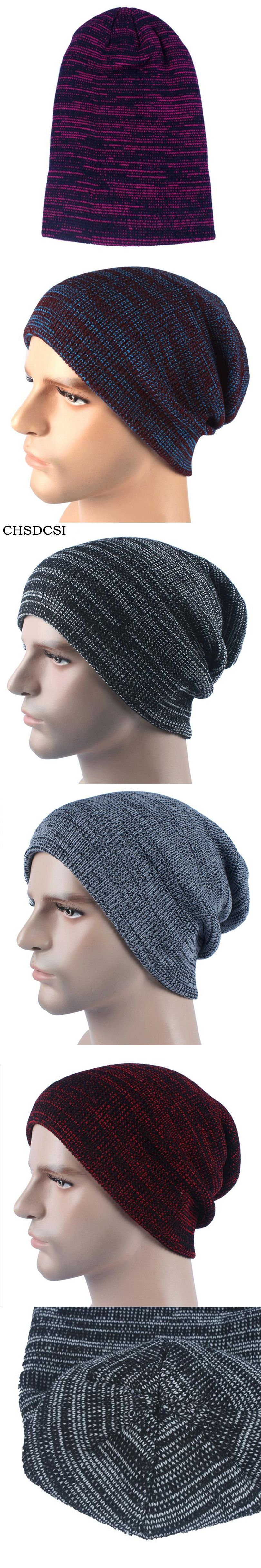 7814fe3203737 CHSDCSI Men s Skullies Bonnet Winter Beanie Knitted Wool Hat Plus Velvet  Cap Thicker Stripe Skis Sports Beanies Hats For Men