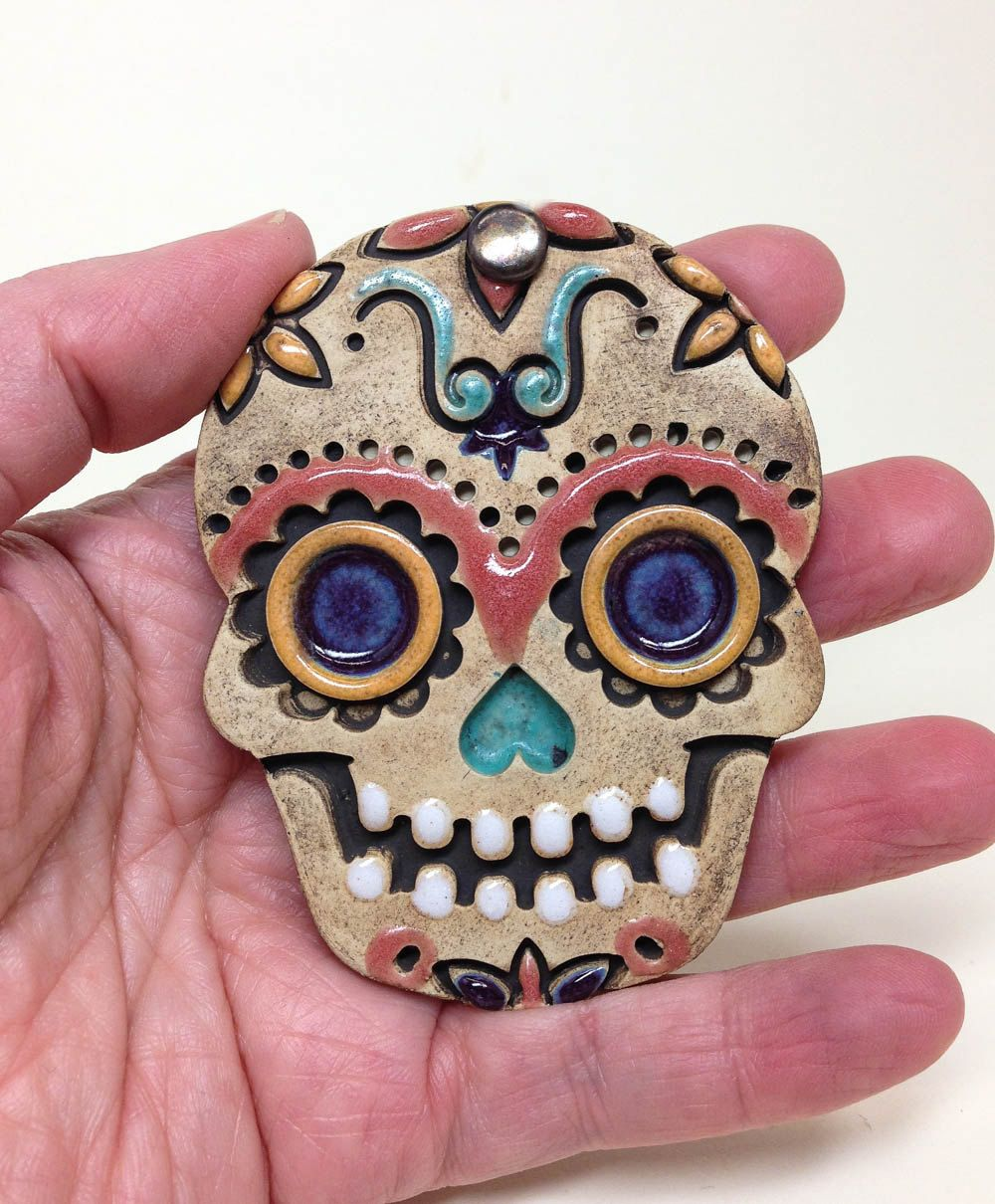 Ceramic Wall Hanging Day Of The Dead Ornament Sugar Skull Pottery Decor Skeleton Mexican Folk Art Dia De Lo Sugar Skull Mexican Folk Art Clay Wall Hanging
