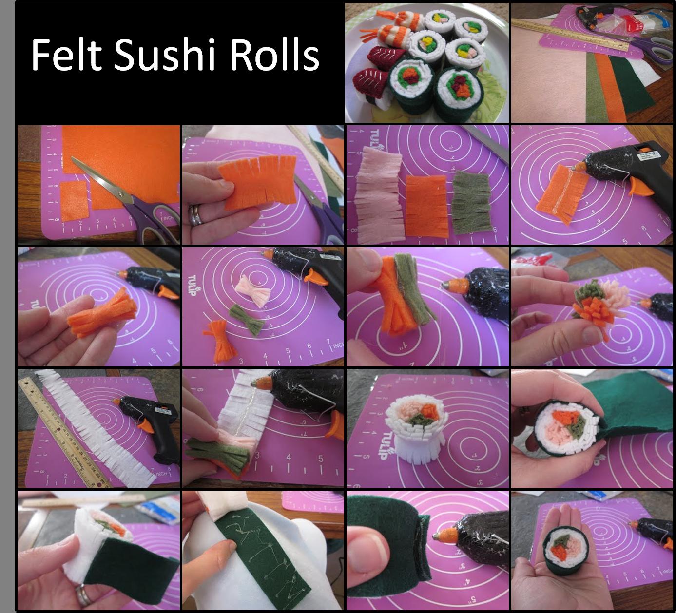 "DIY felt food: sushi rolls tutorial : just make smaller for 18"" doll felt sushi rolls"
