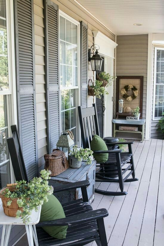 Black rocking chairs | front porch l o v i n in 2019 | Front ...