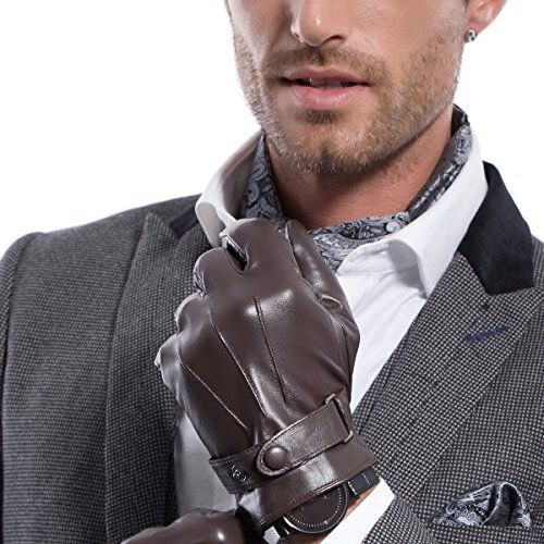 Lined Winter Driving Gloves for Men BOTINDO Touchscreen Leather Gloves