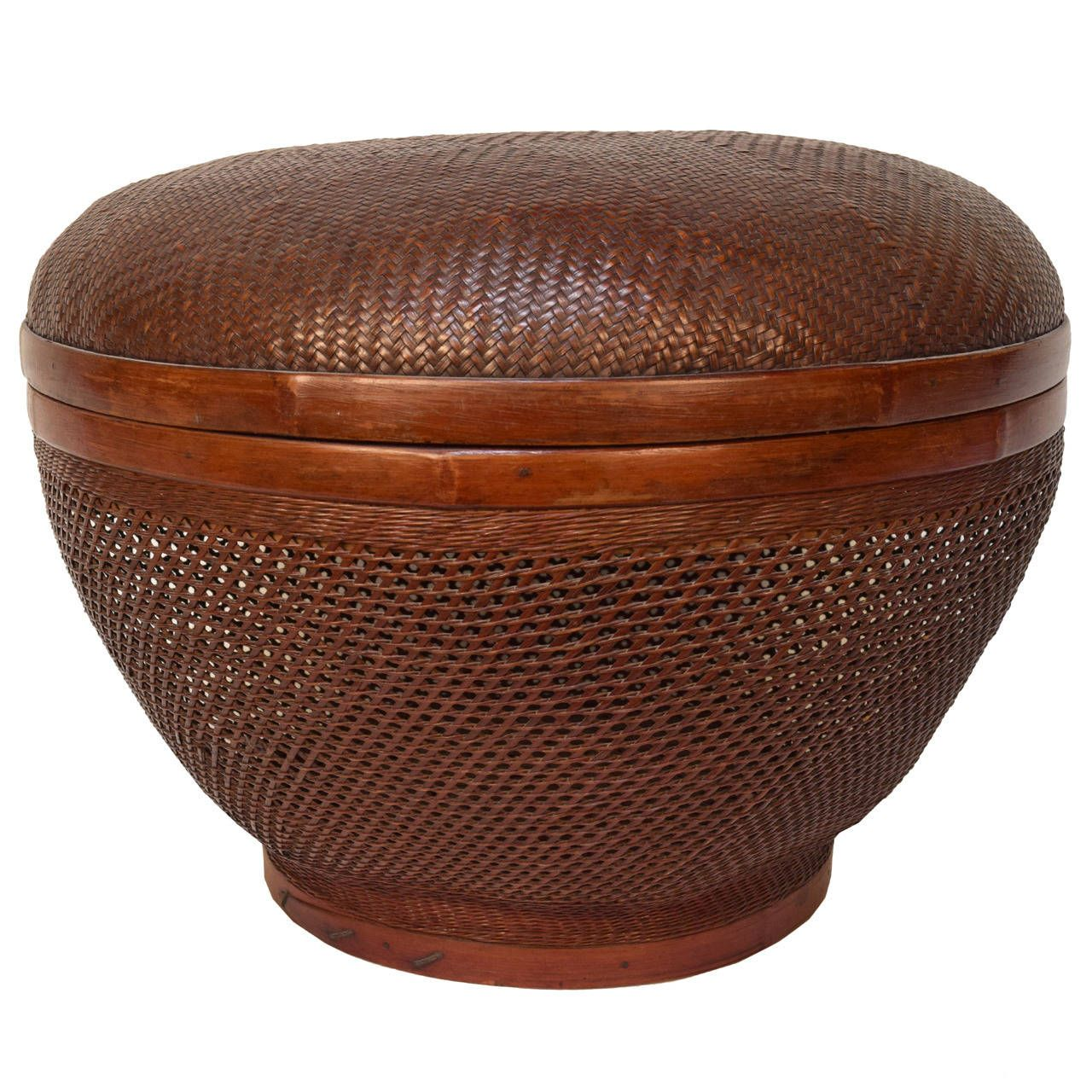 chinese open weave covered basket  open weave and decorative objects - chinese open weave covered basket