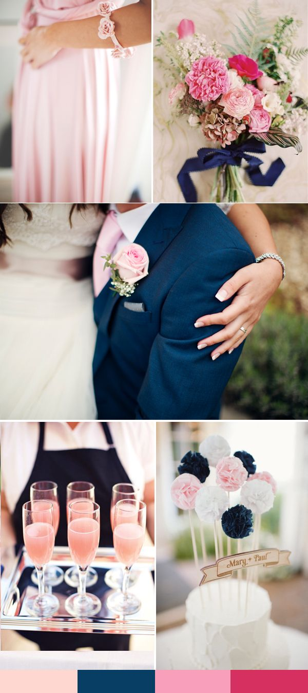 pink and navy blue wedding ideas for spring weddings 2016