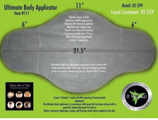 the acual body applicator (body wrap)