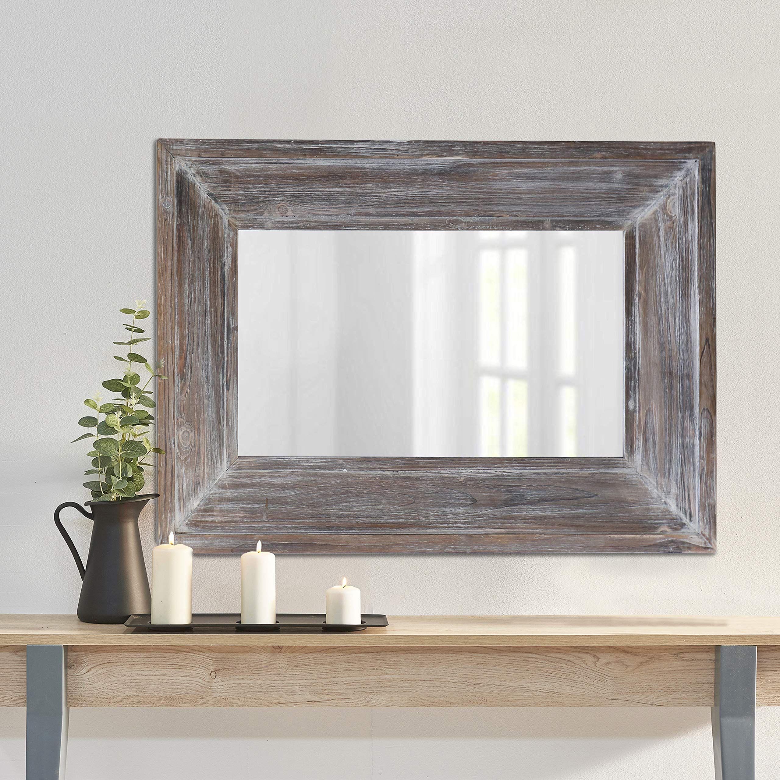 Barnyard Designs Decorative Wall Mirror Rustic Distressed Natural Wood Frame Vertical Hanging Mirror W In 2020 Large Rustic Wall Decor Rustic Mirrors Rustic Wall Decor