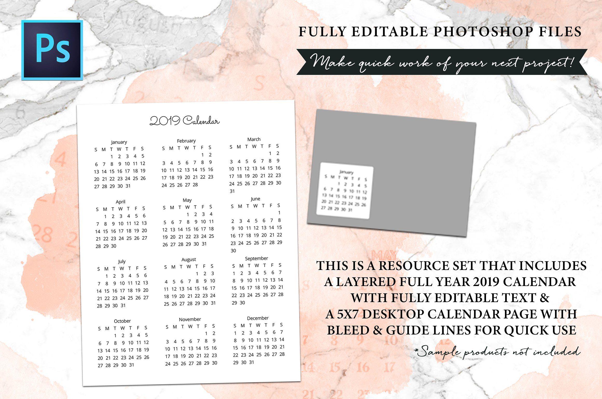 2019 Fully Editable Calendar Kit #Fancy#text#edit#fonts