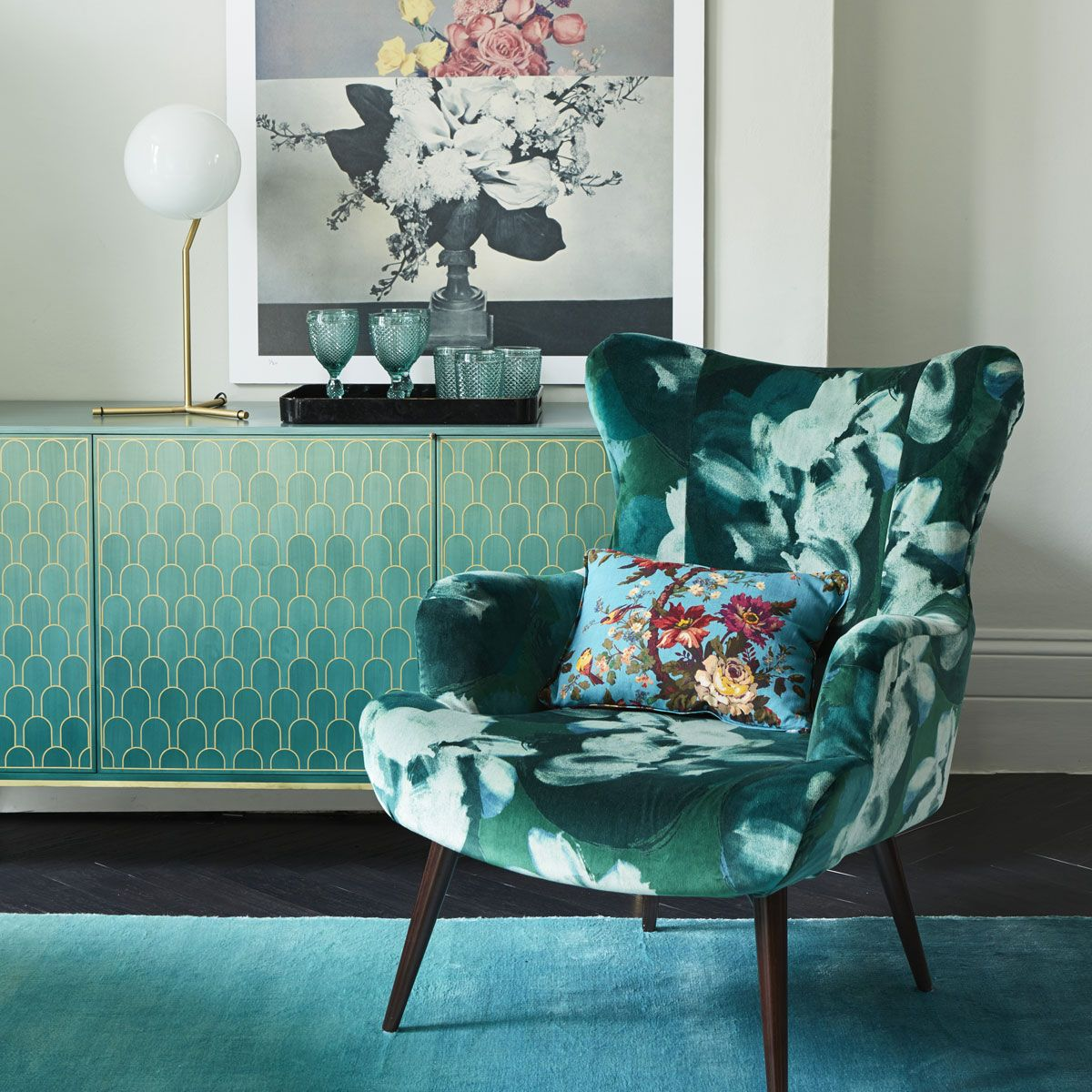 Elegant Contemporary Living Room Furniture: Elegant Reading Corner With Floral Armchair And Artwork In