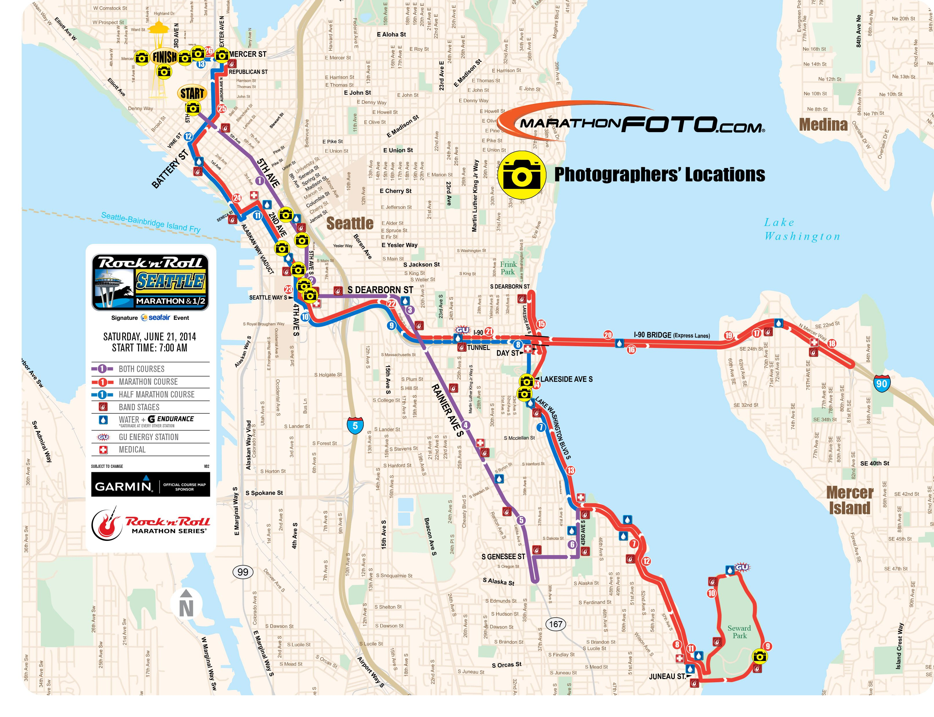 Rock \'n\' Roll Seattle Marathon and Half 2014 Photo spots | Run4Fun ...