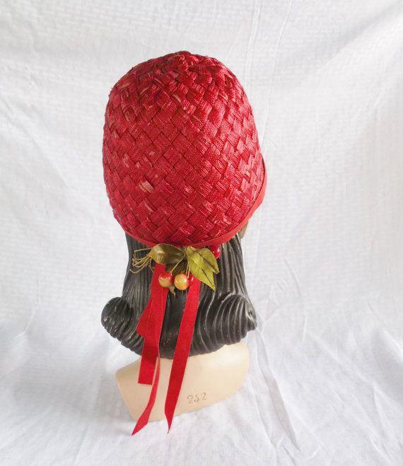 1960's Vintage Red Helmet Style Hat with by MyVintageHatShop, $52.00