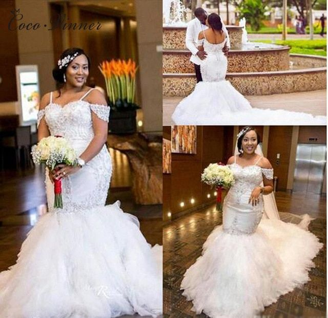 C.V African Sequin Lace Vintage Mermaid Wedding Dresses 2019 Long train  Puff Skirt Crystal Beads Plus Size Bridal Gowns W0215 Review 5d83cc8c78eb