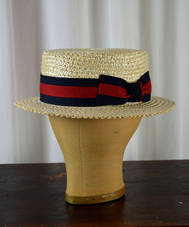 0015bb1992775d Boater Hat Men's Hat, Skimmer Hat, 1920's Mens Hat, Straw Hat, Vintage  Style Hat, Barbershop Quartet, by BuffaloGalVintage on Etsy