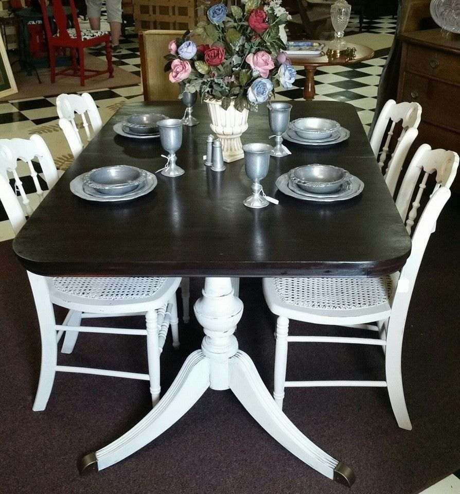 Chalk Painted Duncan Phyfe Table And Cane Bottom Chairs