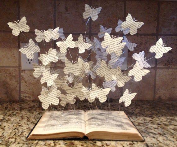 Buch-Kunst - Papier Schmetterlinge - Buch-Kunst-Skulptur - Buch Dekorationen - Schmetterling Bücher - Buch-Liebhaber-Geschenk - Papier-Kunstwerk - bildende Kunst